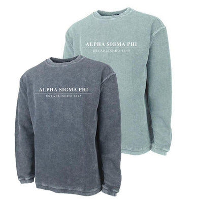 New! Alpha Sig Charles River Corded Crew Sweatshirt