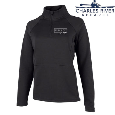 New! Alpha Sig Charles River Mom Black Quarter Zip