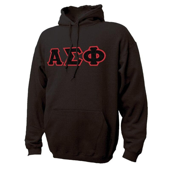 Alpha Sig Black Hoodie with Sewn On Greek Letters