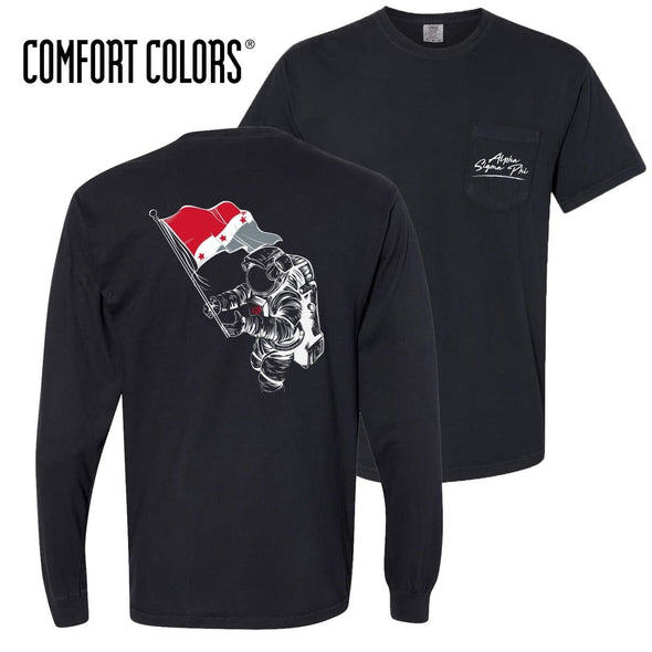 Alpha Sig Comfort Colors Black Astronaut Pocket Tee