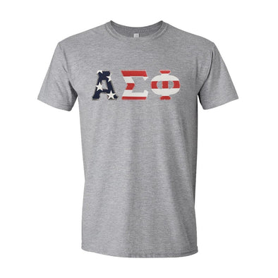 Alpha Sig Stars & Stripes Sewn On Letter Tee