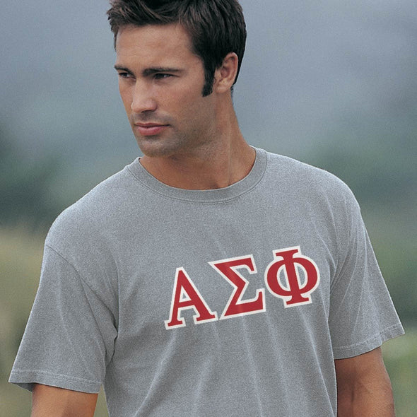 Alpha Sig Heather Gray Greek Letter Tee