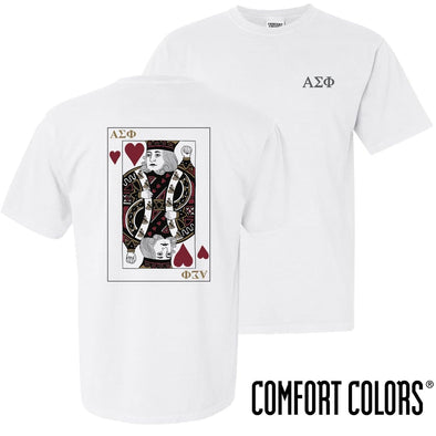 New! Alpha Sig Comfort Colors White King of Hearts Short Sleeve Tee