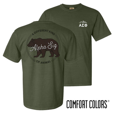 New! Alpha Sig Comfort Colors Animal Tee