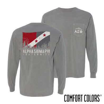 Alpha Sig Gray Comfort Colors Flag Long Sleeve Pocket Tee