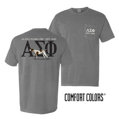 Alpha Sig Gray Comfort Colors Pocket Tee