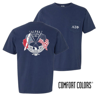 New! Alpha Sig Comfort Colors Short Sleeve Navy Patriot tee