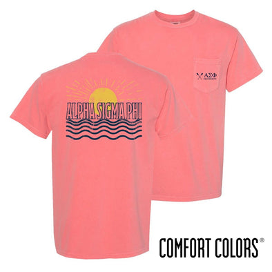 New! Alpha Sig Comfort Colors Short Sleeve Sun Tee