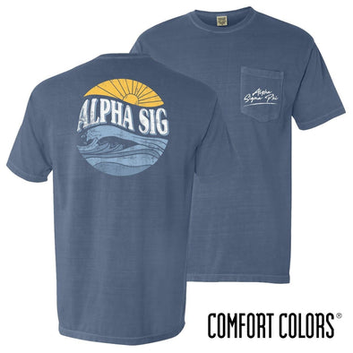 New! Alpha Sig Comfort Colors Tidal Tee