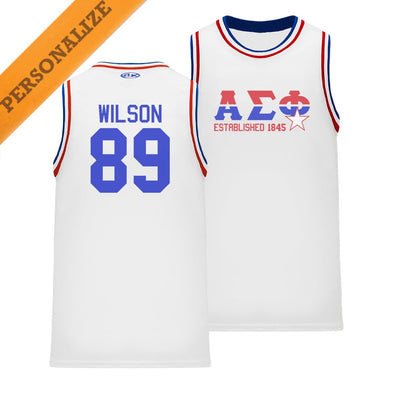 New! Alpha Sig Personalized Retro Block Basketball Jersey