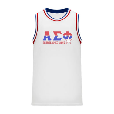 New! Alpha Sig Retro Block Basketball Jersey