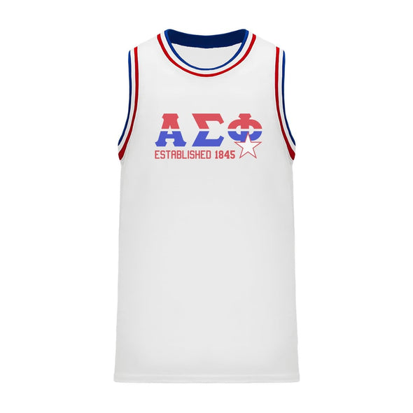 Alpha Sig Retro Block Basketball Jersey