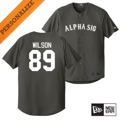 New! Alpha Sig Personalized New Era Graphite Baseball Jersey