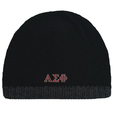 Sale! Alpha Sigma Phi Black Knit Beanie with Fleece Lining