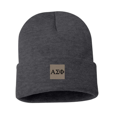 New! Alpha Sig Charcoal Letter Beanie