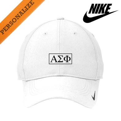 Alpha Sig Personalized White Nike Dri-FIT Performance Hat