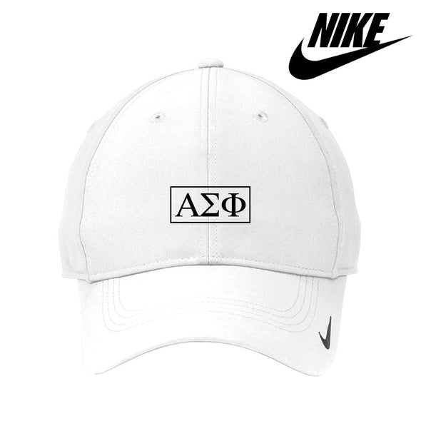 New! Alpha Sig White Nike Dri-FIT Performance Hat