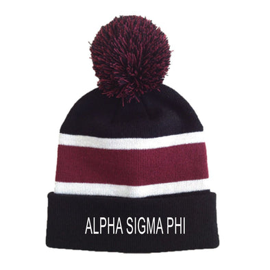 New! Alpha Sig Striped Pom Beanie