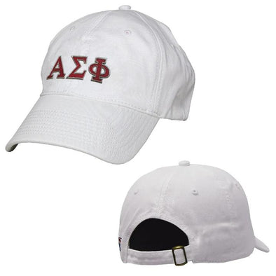Alpha Sigma Phi White Greek Letter Adjustable Hat