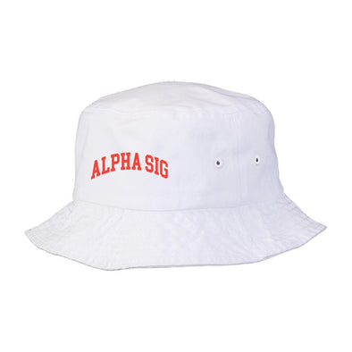 New! Alpha Sig Title White Bucket Hat