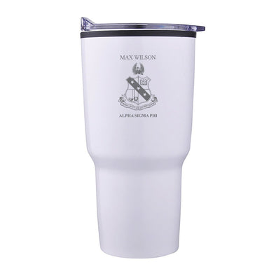 New! Alpha Sig Personalized 30oz White Tumbler