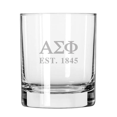 Alpha Sig Engraved Glass