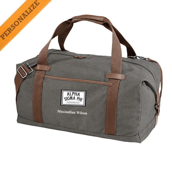 New! Alpha Sig Personalized Gray Canvas Duffel