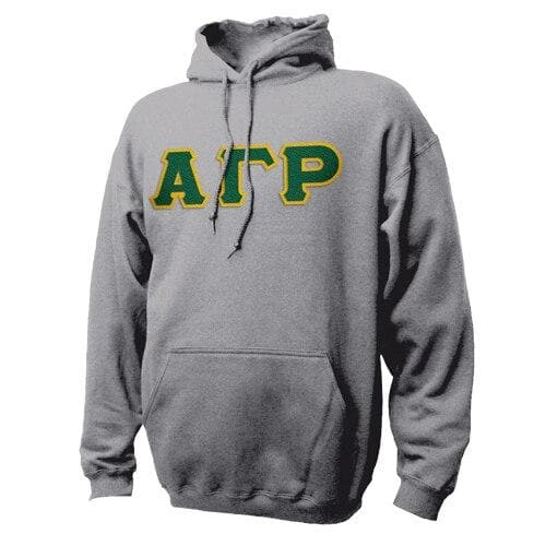 AGR Heather Gray Hoodie with Sewn On Letters