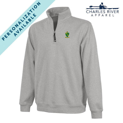 New! AGR Embroidered Crest Gray Quarter Zip