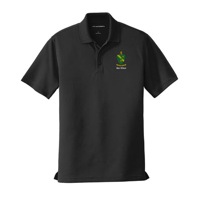 Personalized AGR Crest Black Performance Polo