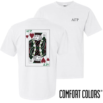 New! AGR Comfort Colors White King of Hearts Short Sleeve Tee