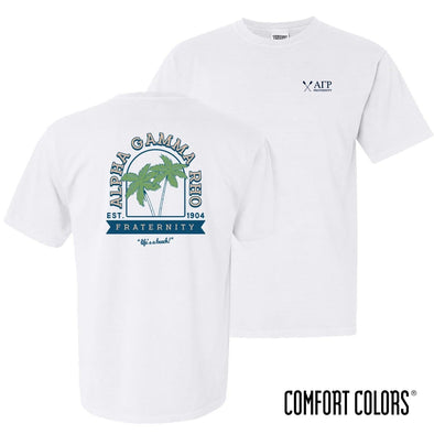 New! AGR Comfort Colors White Beach Short Sleeve Tee