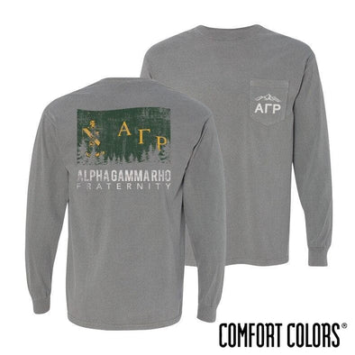 AGR Gray Comfort Colors Flag Long Sleeve Pocket Tee