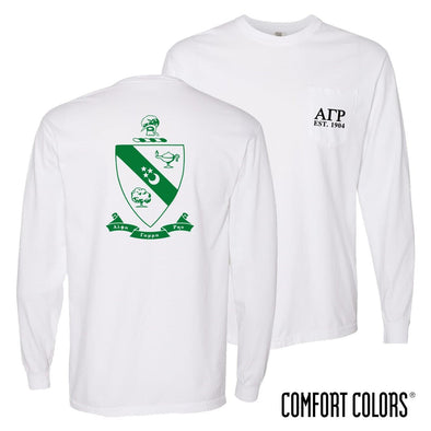 New! AGR Comfort Colors White Pocket Crest Long Sleeve Tee