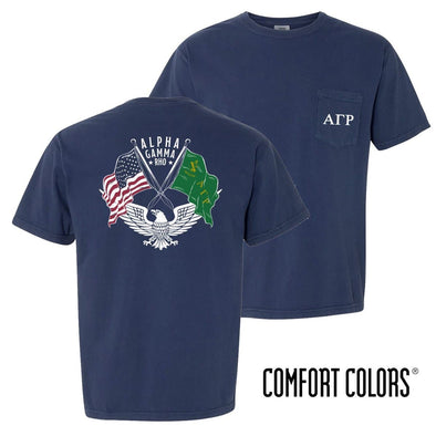 New! AGR Comfort Colors Short Sleeve Navy Patriot tee