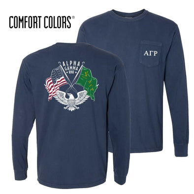 New! AGR Comfort Colors Long Sleeve Navy Patriot tee