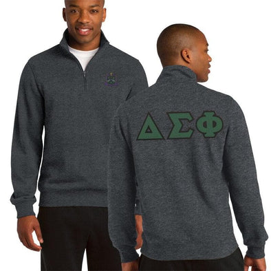 Clearance! Delta Sig Heather Charcoal 1/4 Zip Sweatshirt with Sewn On Letters