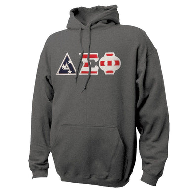 Delta Sig Stars & Stripes Sewn On Letter Hoodie
