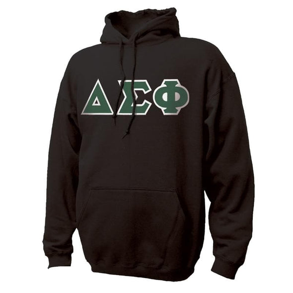 Delta Sig Black Hoodie with Sewn On Greek Letters