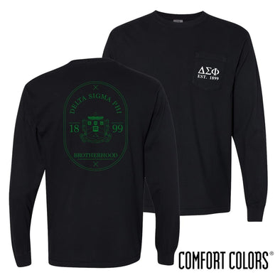 Delta Sig Comfort Colors Black Badge Long Sleeve Pocket Tee