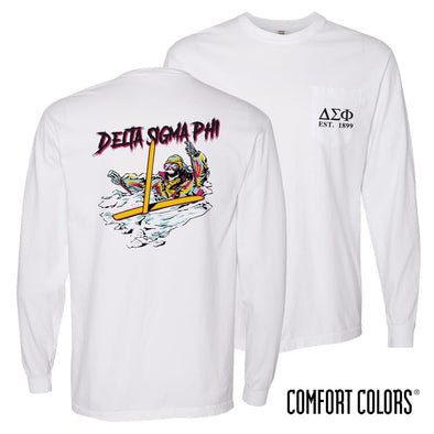 New! Delta Sig Comfort Colors White Long Sleeve Ski-leton Tee