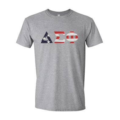 Delta Sig Stars & Stripes Sewn On Letter Tee