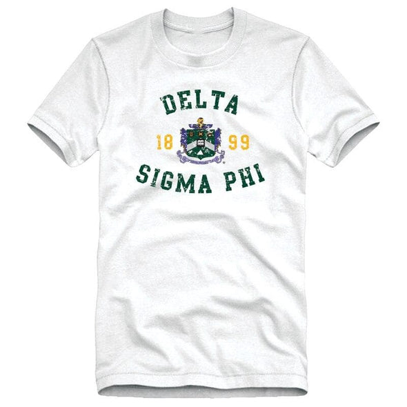 Delta Sig White Distressed Crest Tee