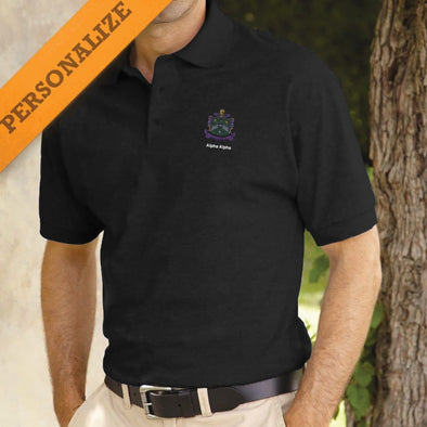 Delta Sig Personalized Black Coat of Arms Polo