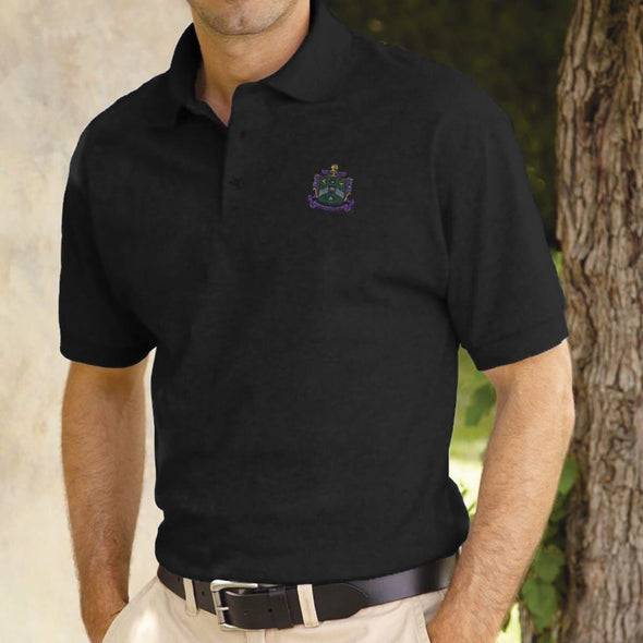 Delta Sig Black Coat of Arms Polo