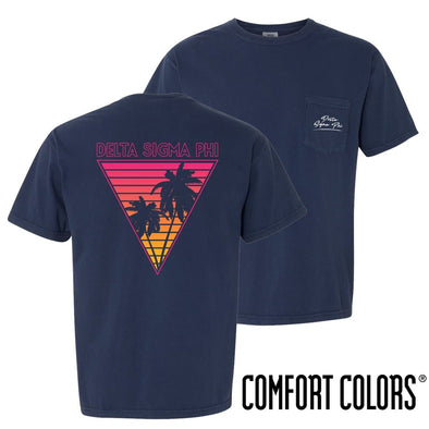 New! Delta Sig Comfort Colors Navy Short Sleeve Miami Pocket Tee