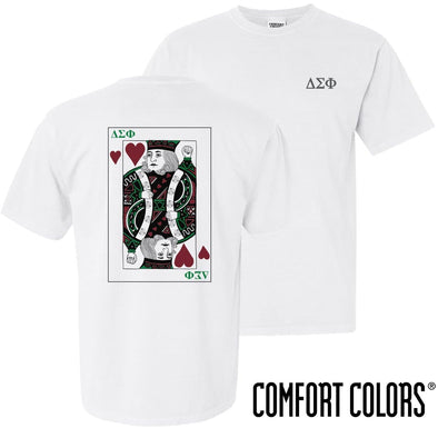 New! Delta Sig Comfort Colors White King of Hearts Short Sleeve Tee