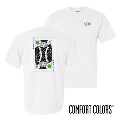 New! Delta Sig Comfort Colors White Short Sleeve Clover Tee