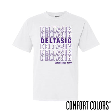 New! Delta Sig Comfort Colors White Thank You Bag Tee