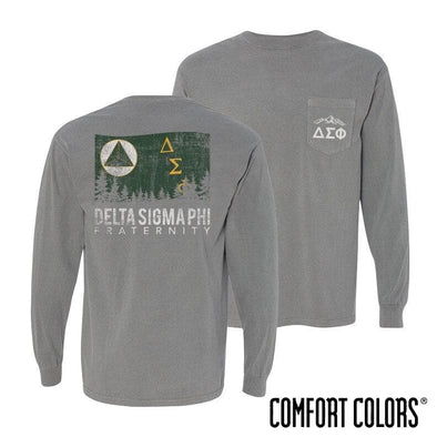 Delta Sig Gray Comfort Colors Flag Long Sleeve Pocket Tee